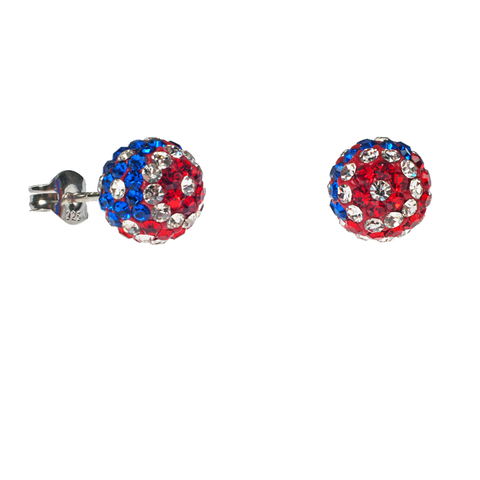 American Flag Crystal Earrings