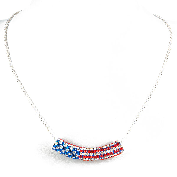 American Flag Crystal Necklace