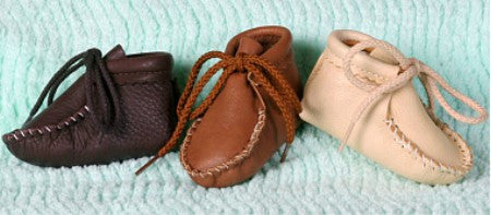 Infants Leather Booties with Laces Leather Insoles Sizes Small Medium Large Made in USA - Omni Gift Shop