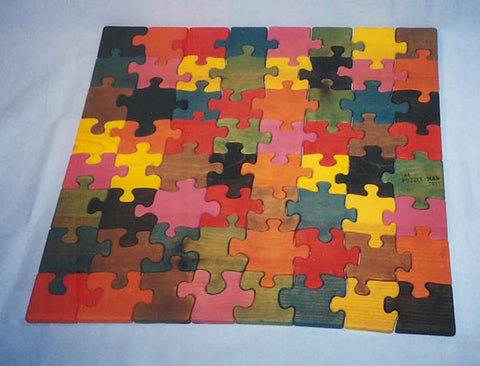 "Wooden 28"" Square Multicolor Pine Educational Jig-Saw Puzzle Handmade in USA - Omni Gift Shop"