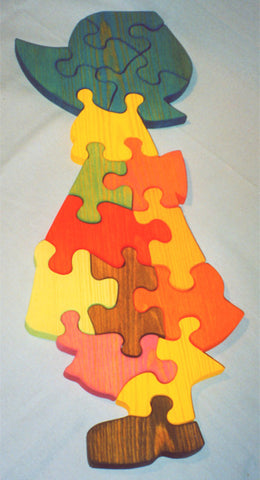 Wooden Educational Country Girl Jig-Saw Puzzle Safe Non-Toxic Handmade in USA - Omni Gift Shop