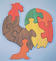 Wooden Educational Multicolored Rooster Jig-Saw Puzzle Safe Non-Toxic Handmade in USA - Omni Gift Shop