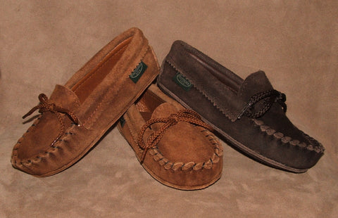 Children's Softsole Suede Cowhide Moccasins Flat Leather Soles Sizes 8-13 1-3 Made in USA - Omni Gift Shop