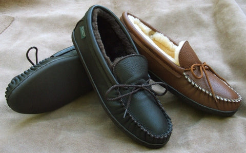 Men's Molded Sole Deertan Leather Slippers Sheepskin Lined Sizes 6-13 Handcrafted in USA - Omni Gift Shop