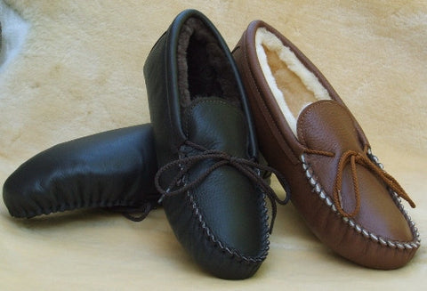 Men's Deertan Leather Slippers Sheepskin Lined Sies 6-13 Handmade in USA - Omni Gift Shop
