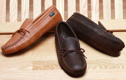 Men's Deertan Leather Canoe Sole Moccasins Cushion Insoles Sizes 6-13 Made in USA - Omni Gift Shop