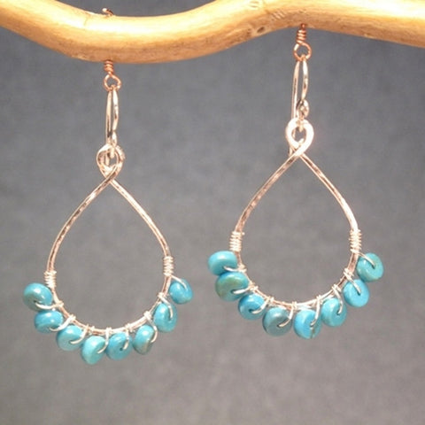 Hammered 14K Gold Filled Drop Hoop Earrings Turquoise Heishi Beads Handmade in USA - Omni Gift Shop