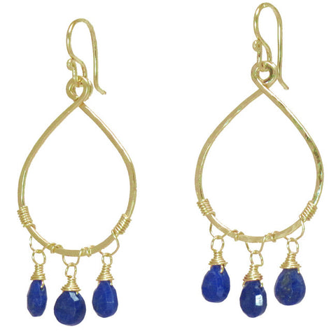 Gemstone Earrings Hammered Drop Hoop 14K Gold Filled Sterling Lapis Peach Jade Lavender Chalcedony - Omni Gift Shop