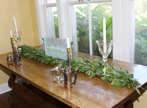 Organic Fresh Bay Leaf Holiday Garland 6 Feet Long Handcrafted in the USA