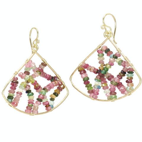 Artisan Fan Shape Earrings Mixed Tourmaline Stones 14K Gold Filled Sterling Silver Made in USA - Omni Gift Shop