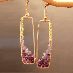 Gemstone Earrings Hammered 14K Gold Filled Rectangles Amethyst Tanzanite and Peridot Gemstones - Omni Gift Shop