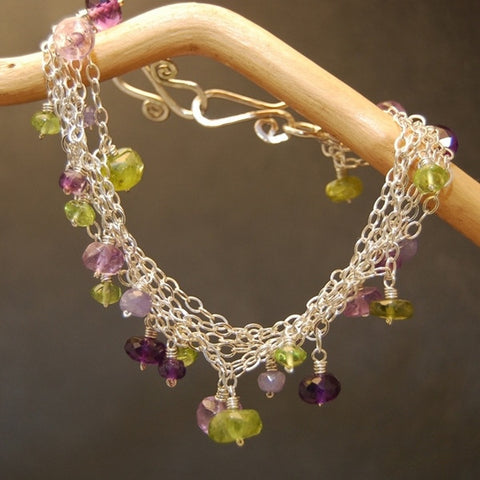 Gemstone Bracelet Clusters Amethyst Tanzanite Peridot Idocrase 14K Gold Filled Sterling Made USA - Omni Gift Shop