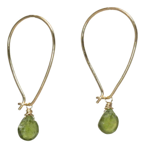 Gemstone Earrings Long Ear Wires Peridot Aquamarine Crystal Amethyst 14K Gold Filled Sterling - Omni Gift Shop