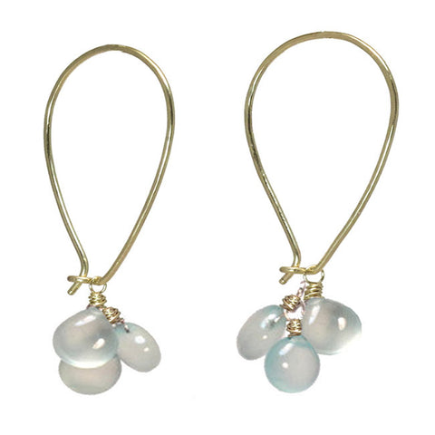 Artisan Earrings Long Ear Wires Sea Blue Chalcedony Moonstone Gemstones 14K Gold Filled Sterling - Omni Gift Shop
