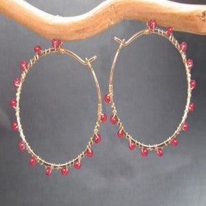 "Gemstone Earrings Hammered Hoops 1-3/4"" Diameter with Garnet 14K Gold Filled Sterling Made in USA - Omni Gift Shop"