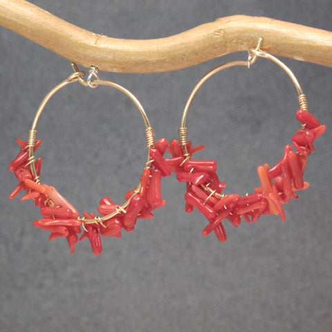"Red Branch Coral Hoop Earrings 14K Gold Filled Sterling 1-1/4"" Long Made in USA - Omni Gift Shop"