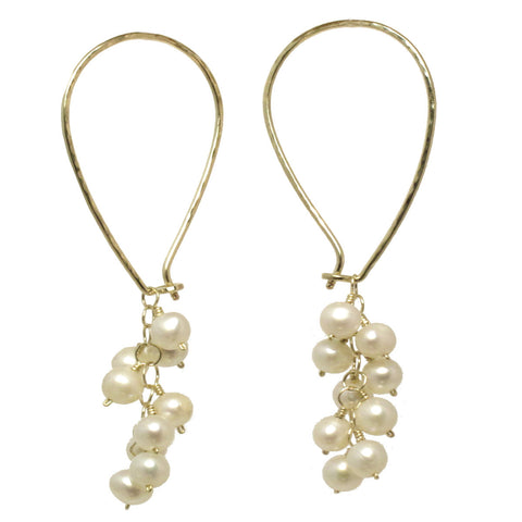 Handcrafted Earrings Long Ear Wires Clusters Ivory Pearls 14K Gold Filled Sterling Made USA - Omni Gift Shop