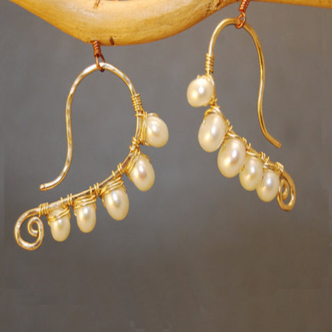 Handmade Earrings Hammered 14K Gold Filled Sterling Swirl Shape Wire Wrapped with Pearls Made USA - Omni Gift Shop