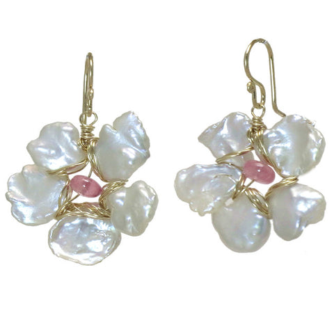 Artisan Earrings Ivory Pearl Flowers Pink Tourmaline Peridot Gemstones Made in USA - Omni Gift Shop