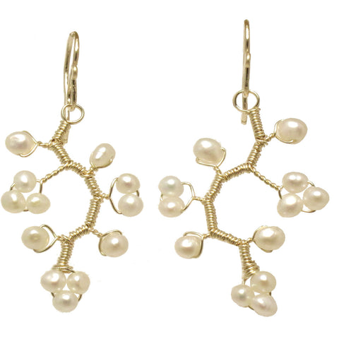 Artisan Earrings Clusters Ivory Pearls Wrapped in Branch Shape 14K Gold Filled Sterling Made USA - Omni Gift Shop