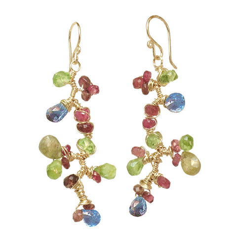 Artisan Earrings Branch of Peridot Green Garnet Ruby Blue Topaz 14K Gold Filled Sterling Made in USA - Omni Gift Shop
