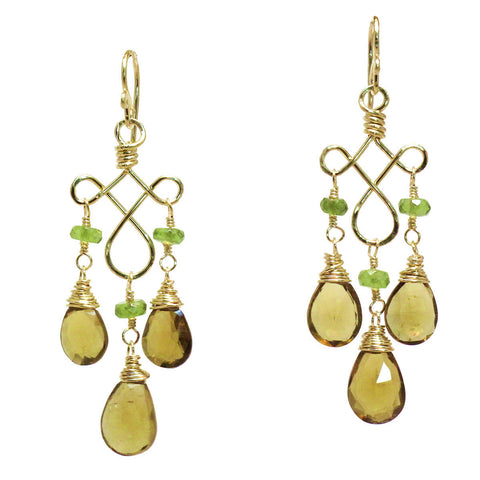 Gemstone Earrings Hammered Curled Wire Peridot Whiskey Quartz Gemstones 14KGF Sterling Made USA - Omni Gift Shop