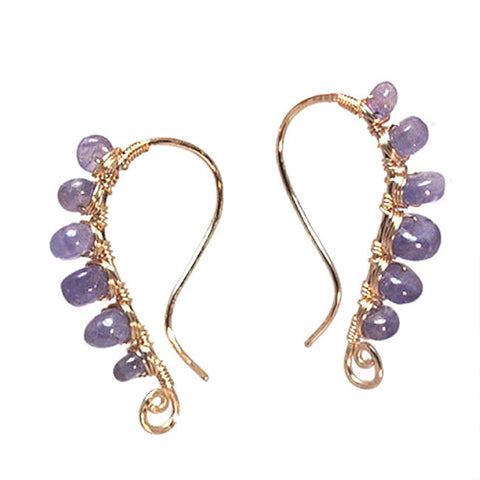Handmade Earrings Hammered Curved Wires Wrapped with Tanzanite 14K Gold Filled Sterling Made USA - Omni Gift Shop