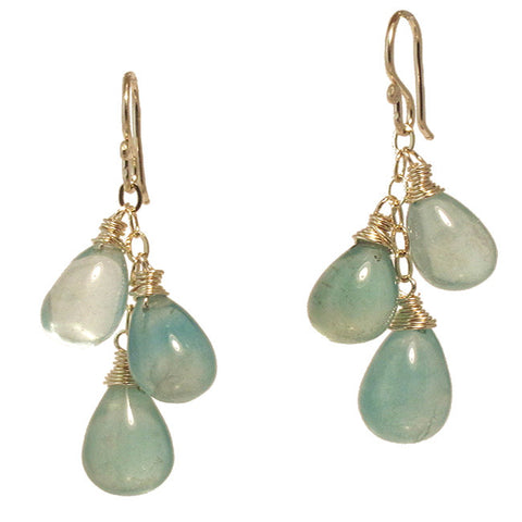 "Gemstone Drop Earrings Fluorite 14K Gold Filled Sterling Silver 1-1/2"" Long Made in USA - Omni Gift Shop"
