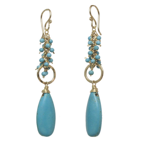 Artisan Earrings Turquoise on Hammered Rings 14K Gold Filled Sterling Handmade USA - Omni Gift Shop