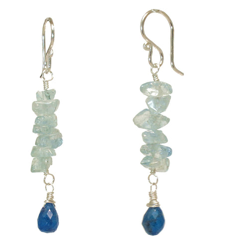 Artisan Gemstone Earrings Aquamarine Nuggets Blue Apatite 14K Gold Filled Sterling Made in USA - Omni Gift Shop