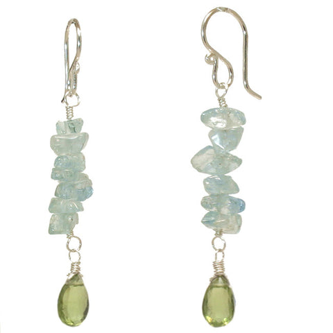 Artisan Gemstone Earrings Aquamarine Nuggets Green Apatite 14K Gold Filled Sterling Made in USA - Omni Gift Shop