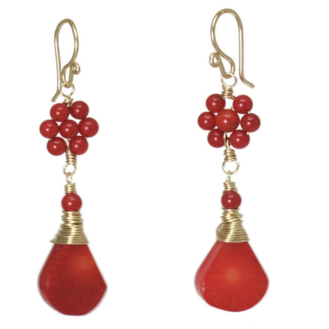 Handcrafted Gemstone Earrings Clusters Red Coral 14K Gold Filled Made in USA - Omni Gift Shop