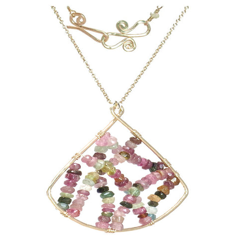 Artisan Gemstone Fan Shaped Pendant Necklace Mixed Tourmaline Handmade in USA - Omni Gift Shop