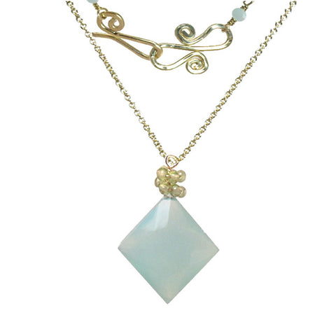 Gemstone Necklace Diamond Shaped Blue Chalcedony Pendant with Peridot 14K Gold Filled Sterling - Omni Gift Shop
