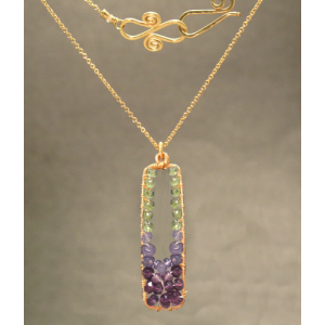 "Gemstone Necklace Peridot Tanzanite Amethyst Rectangular Pendant 18"" Chain 14K Gold Sterling - Omni Gift Shop"