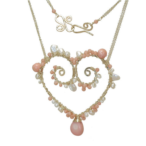 Gemstone Heart Pendant Necklace Pearls Rondelles Tanzanite Pink Coral Pink Ruby Dark Apatite - Omni Gift Shop