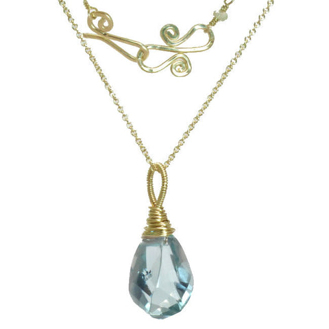 "Gemstone Necklace Aquamarine Crystal Pendant 14K Gold Filled or Sterling 18"" Chain Made in USA - Omni Gift Shop"