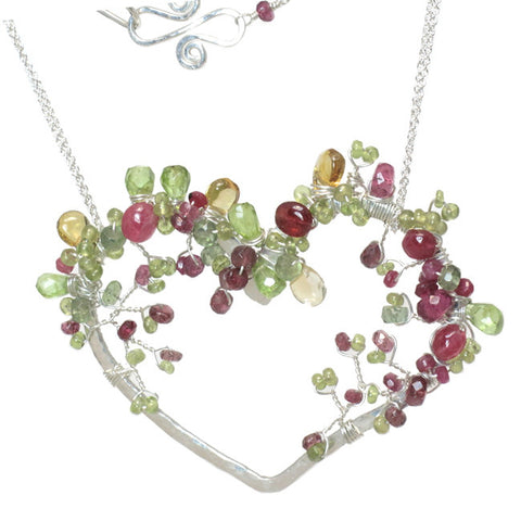 Handcrafted Heart Pendant Necklace 14K Gold Filled or Sterling Silver  Gemstones Mixed Tourmaline - Omni Gift Shop