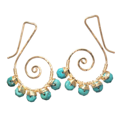 Artisan Earrings 14K Gold Filled or Sterling Swirls Turquoise Stones Made in USA - Omni Gift Shop