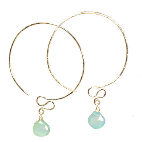 Artisan Earrings Hammered Hoops Sea Blue Chalcedony Royal Blue Chalcedony 14K Gold Filled Sterling - Omni Gift Shop