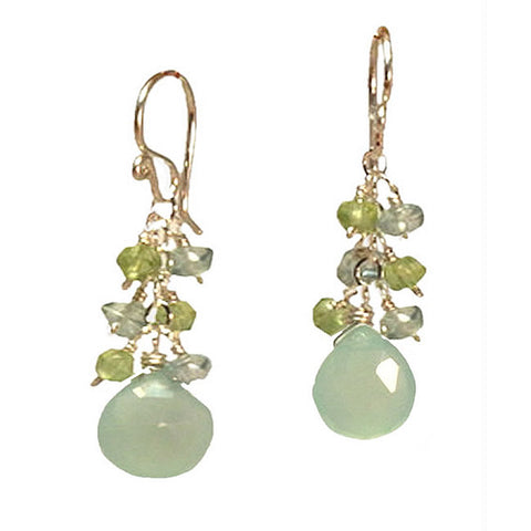 Artisan Earrings Periodot Apatite Sea Blue Chalcedony Gemstones 14K Gold Filled Sterling Made in USA - Omni Gift Shop
