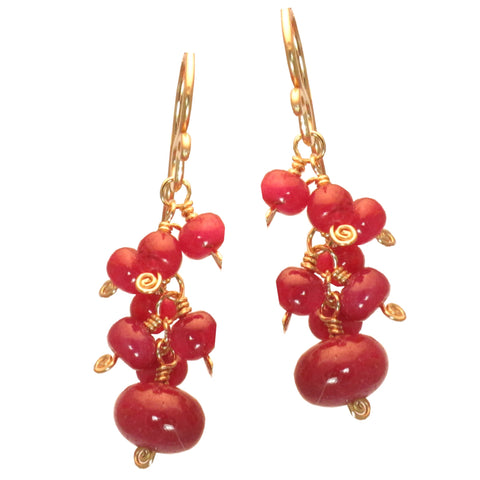 Ruby Earrings Clusters of Ruby 14K Gold Filled 14K Rose Gold Filled Sterling Silver Handcrafted - Omni Gift Shop