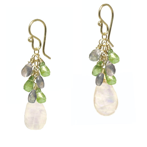 Gemstone Earrings Clusters Moss Aquamarine Peridot Moonstone 14K Gold Filled Sterling Silver - Omni Gift Shop
