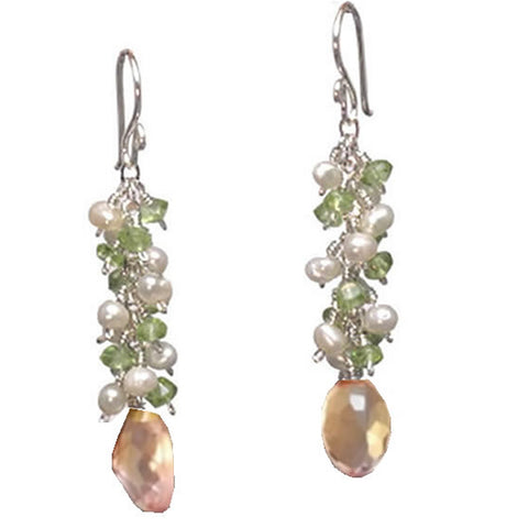Artisan Earrings Pearls Peridot Rose Quartz Gemstones 14K Gold Filled Sterling Made in USA - Omni Gift Shop