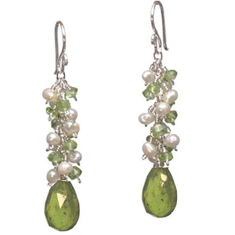 Artisan Earrings Pearls Peridot Idocrase Gemstones 14K Gold Filled Sterling Made in USA - Omni Gift Shop