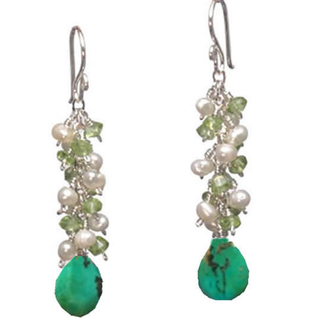 "Artisan Earrings Pearls Peridot Turquoise Gemstones 14K Gold Filled Sterling 2"" Long Made in USA - Omni Gift Shop"