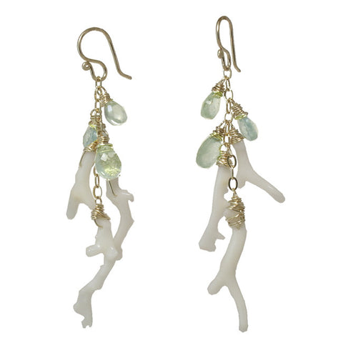 Artisan Earrings White Branch Coral with Aquamarine Gemstones 14K Gold Filled Sterling Made in USA - Omni Gift Shop