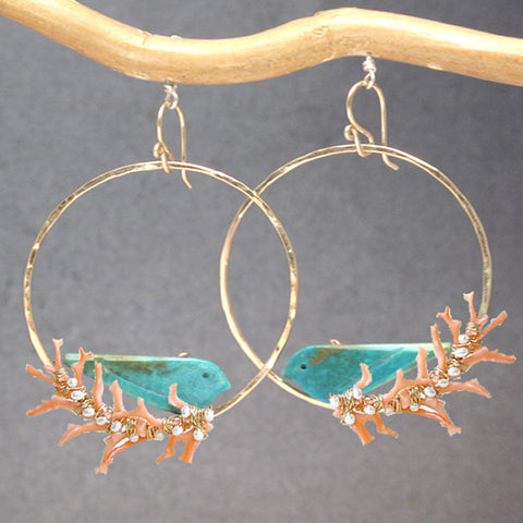 Handmade Earrings Hammered Hoops Turquoise Birds Coral Branches 14K Gold Filled or Sterling - Omni Gift Shop