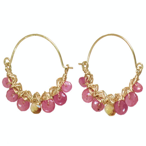 Gemstone Earrings Hammered Hoops Pink Ruby Mandarin Garnet 14K Gold Filled Sterling Made USA - Omni Gift Shop