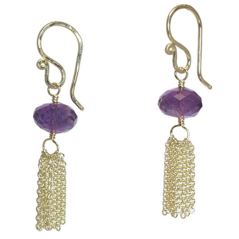 Artisan Drop Earrings Amethyst Gemstone 14K Gold Filled Sterling Chain Tassel Made in USA - Omni Gift Shop